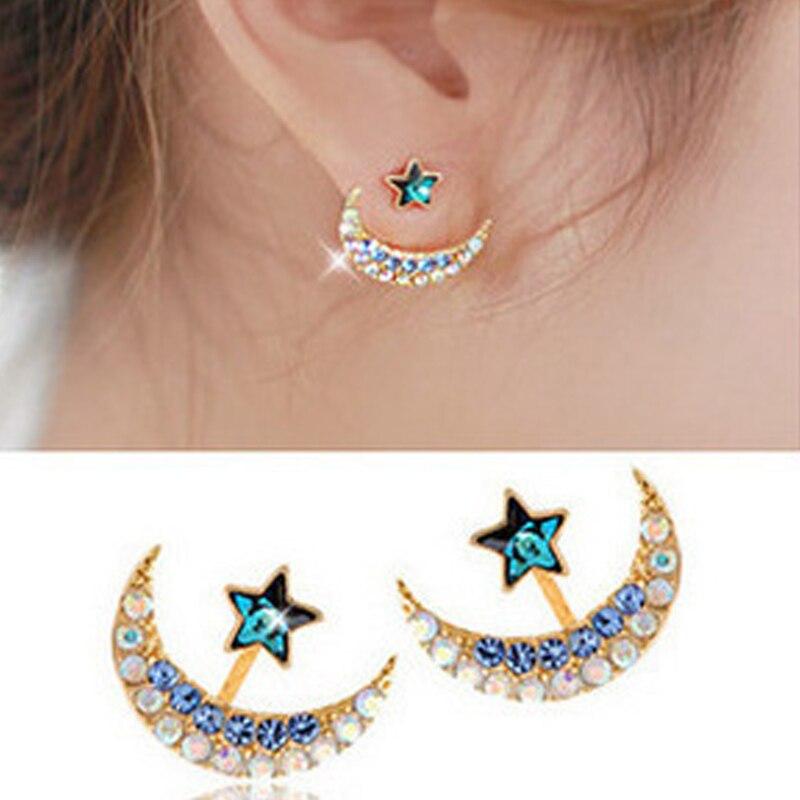 Brillantes pendientes de tuerca de cristal con diamantes de imitación, pendientes de moda de luna y estrella, pendientes de doble cara para mujeres y niñas, joyería para la oreja