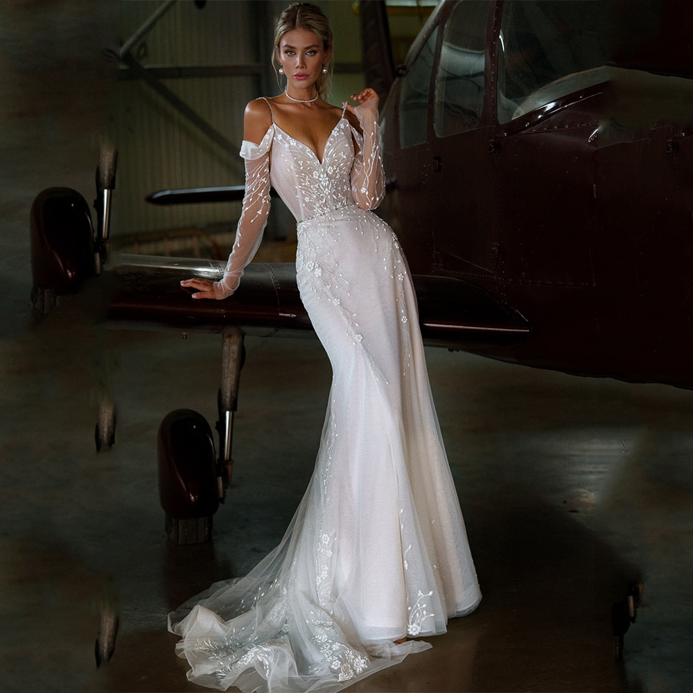 Promo Mermaid Wedding Dresses 2021 Sexy V Neck Spaghetti Straps Beading Lace Appliques Sleeveless Backless Sweep Train Bridal Gowns