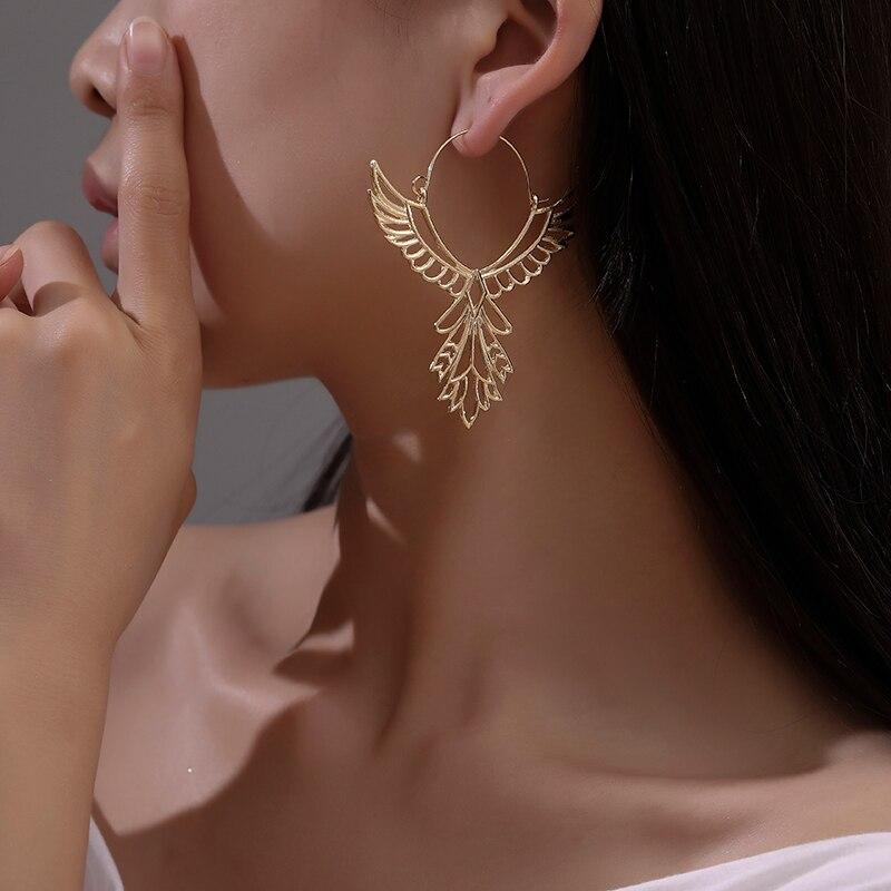 Pendientes de alas de Ángel para mujer con incrustaciones de aleación de águila hueca pendientes de joyería de plumas góticas de fiesta pendientes de moda