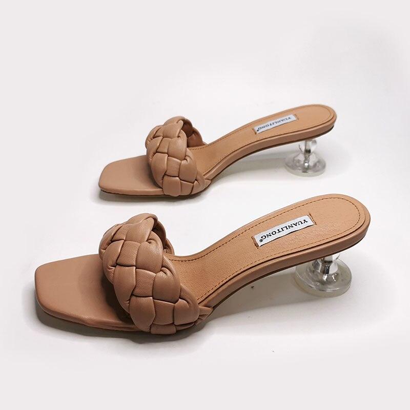 Transparente de Salto Alto Sandálias Femininas Tecelagem Estilo Moda Nobre Marca Design Mulher Verão Sapatos Venda Quente Festa Senhoras Sandália