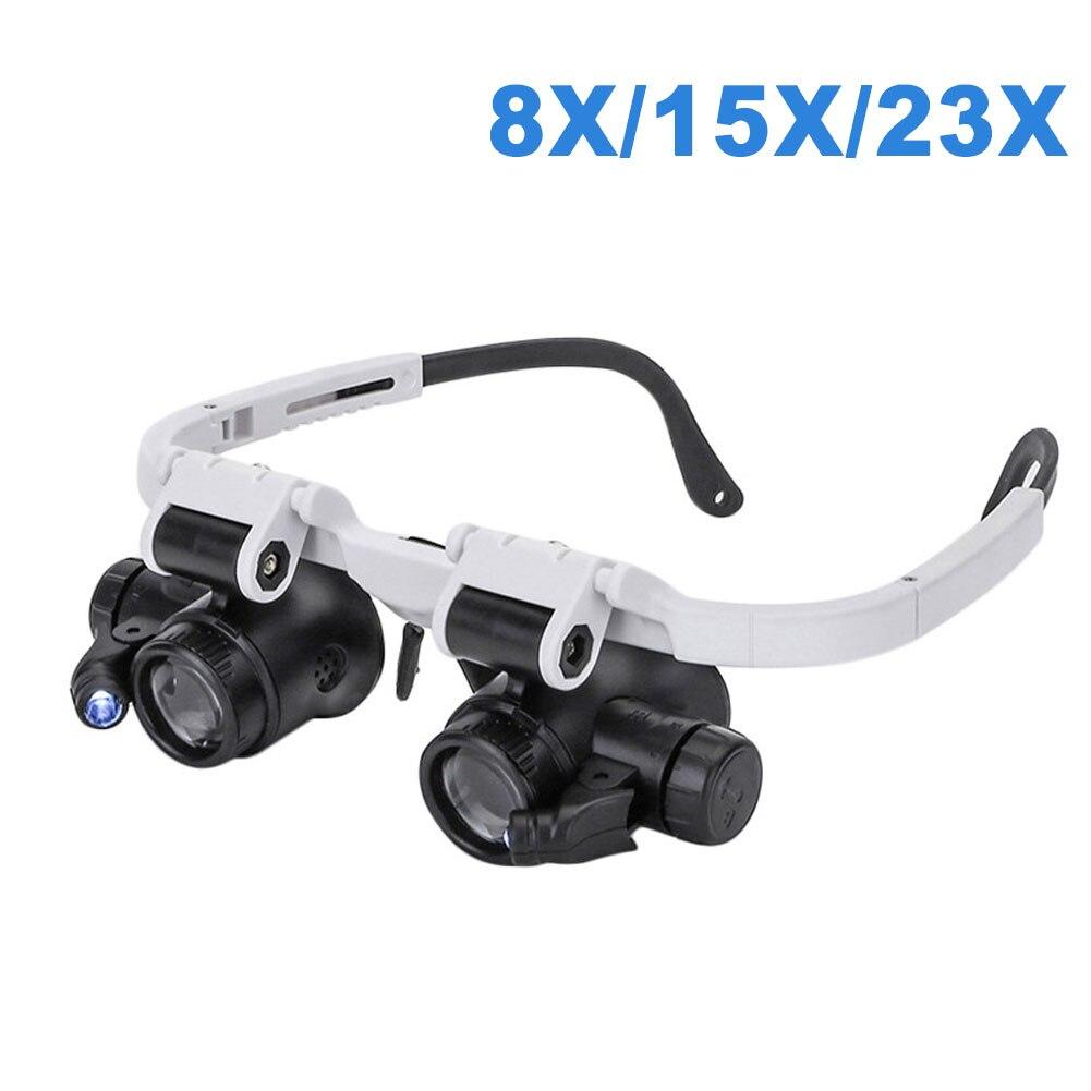 Увеличительные очки с двумя светодиодный, инструменты для бытовой лупы с регулируемой LED лампой 8X/15X/23X
