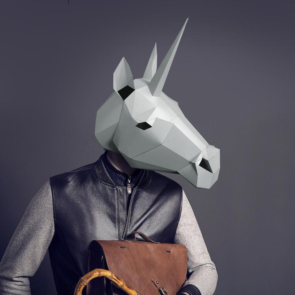 Máscara de papel 3D moda unicornio disfraz Cosplay papel para manualidades máscara modelo navidad Halloween fiesta de graduación regalo