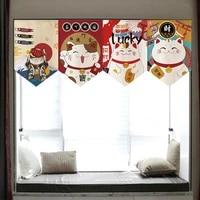 japanese cat blessing curtain short triangle curtain kitchen room decoration half curtain sushi restaurant curtain
