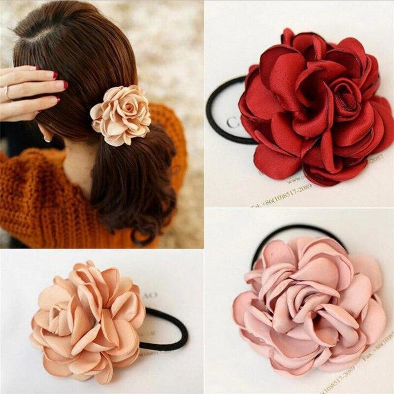 Grande rosa flor elásticos suportes de cabelo bandas de borracha meninas mulheres kawaii bonito gravata goma tecido venda quente cabeça acessórios