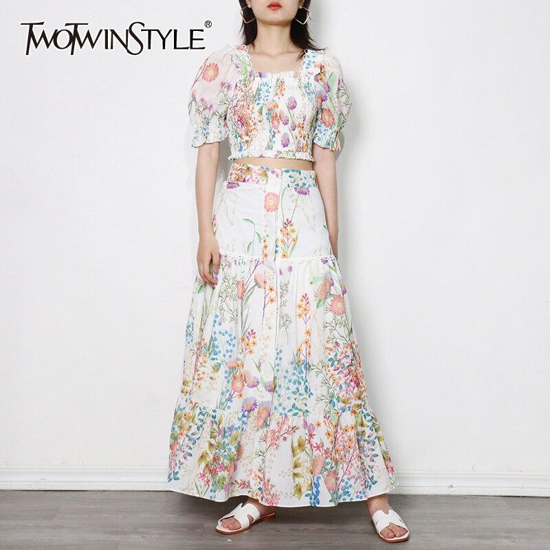 TWOTWINSTYLE الصيف طباعة الأزهار مجموعة للنساء ساحة طوق نفخة كم قميص عالية الخصر تنانير طويلة ضرب اللون مجموعات الإناث جديد