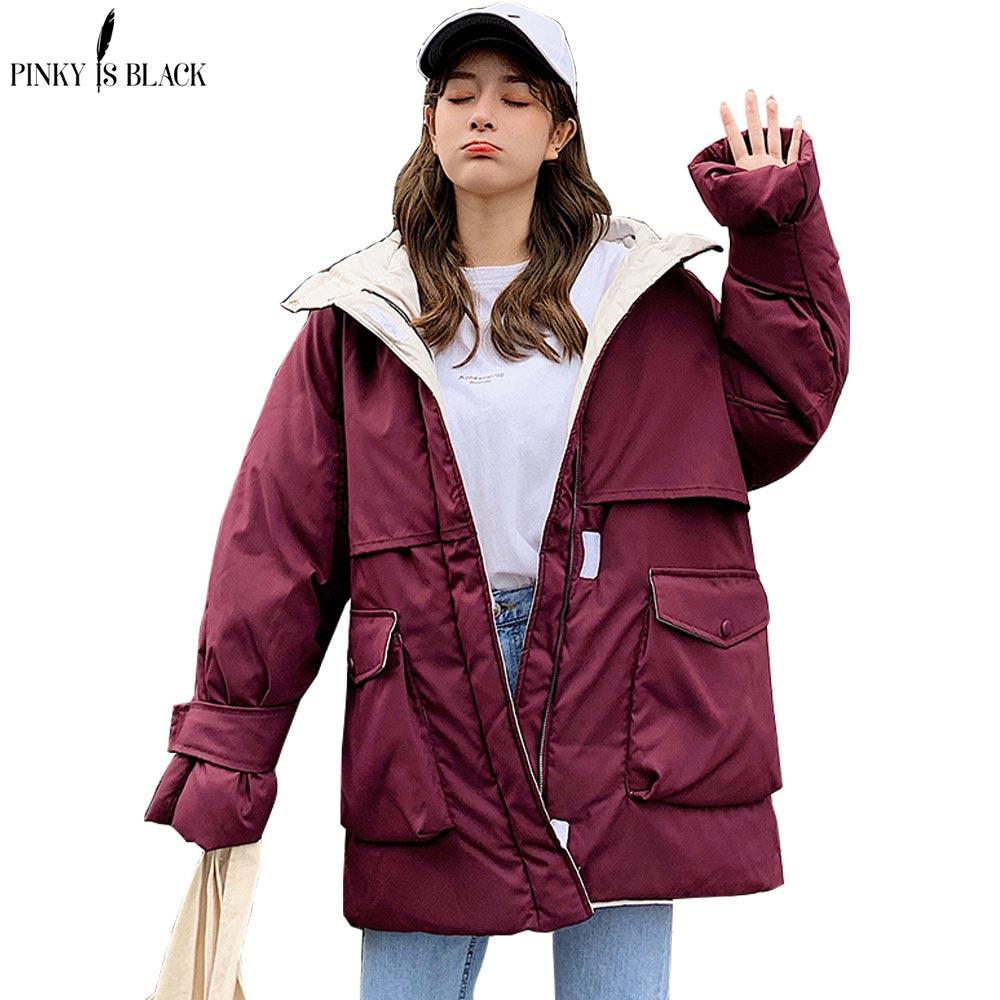 PinkyIsBlack 2020 ארוך מעיילי חורף מעיל נשים סלעית Windproof צבאי בגדים נשי גדול כיס לעבות חורף מעיל נשים