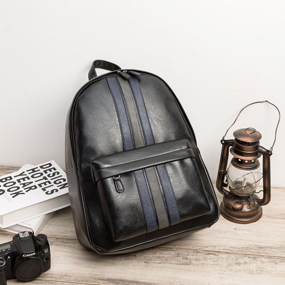 Мужской классический рюкзак, черный кожаный рюкзак из микрофибры, школьная сумка, вместительная сумка для компьютера