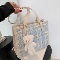 fashion bear keychain plaid women shoulder bag large capacity sooper womens bag luxury woolen big tote bags for women handbags