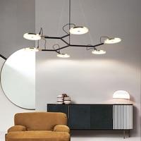 2019 new black modern chandelier simple designer living room bedroom study lighting lighting 110-260v hanging chandelier