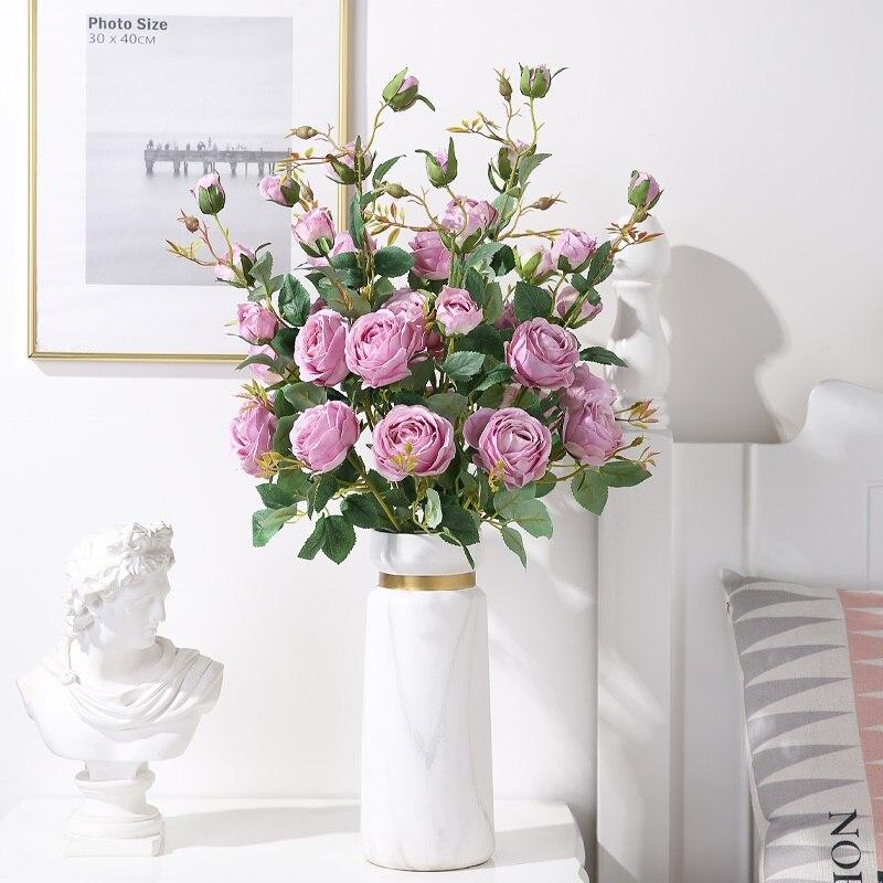 Luyue 5 pçs 90 cm flor artificial 6 cabeças rosa buquê decoração do casamento flores falsas casa arranjo de flores artificiais