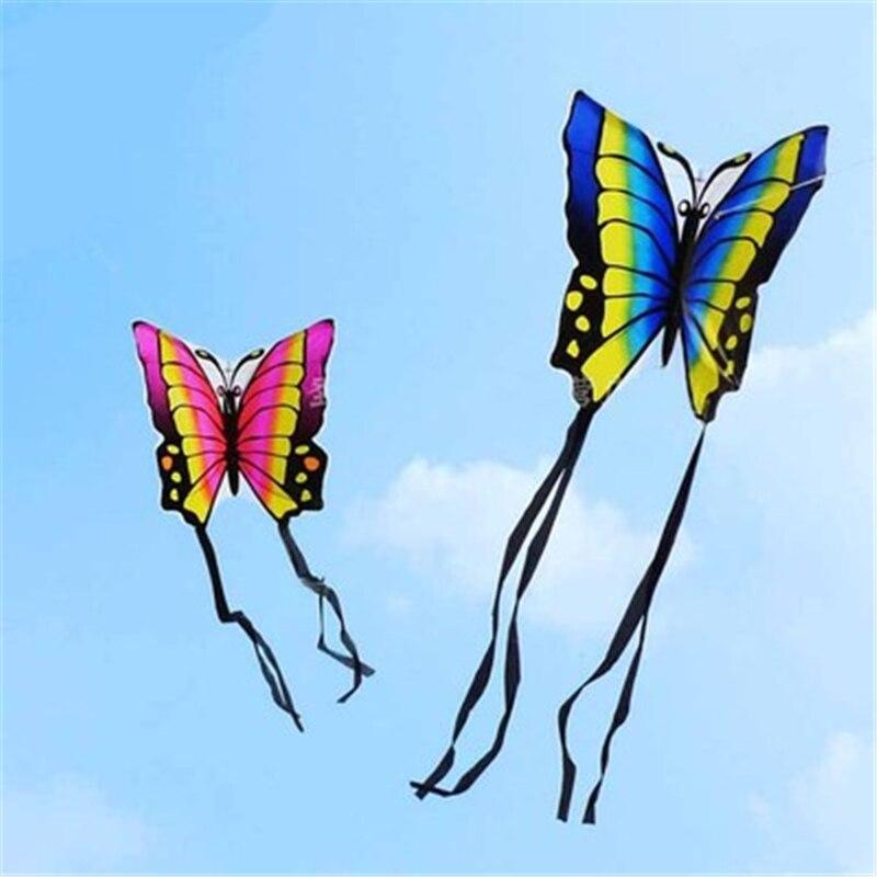 Cometa de mariposa voladora de Fiesta al aire libre de colores 88x78CM con tablero bobinador, cuerda para niños, juego de juego para niños, decoración para fiesta