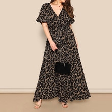 Women Boho Wrap Summer Long Dress Holiday Loose Sundress Floral Print V-Neck Short Sleeve Elegante D