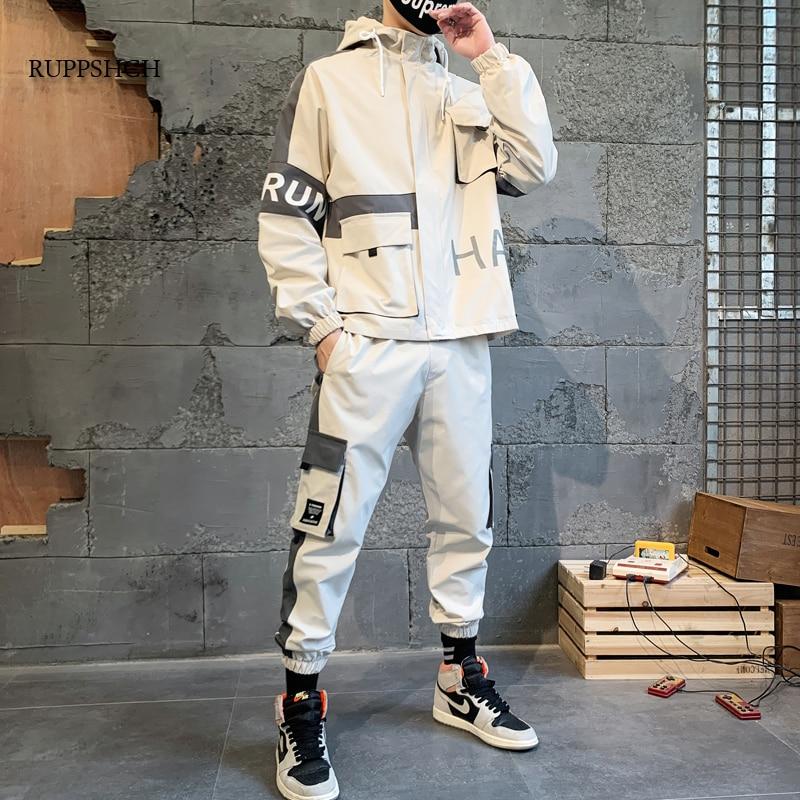 Men Sportswear Suit Spring and Autumn Function Patchwork Hip-Hop Sweatshirt + Pants Men Casual Jacke