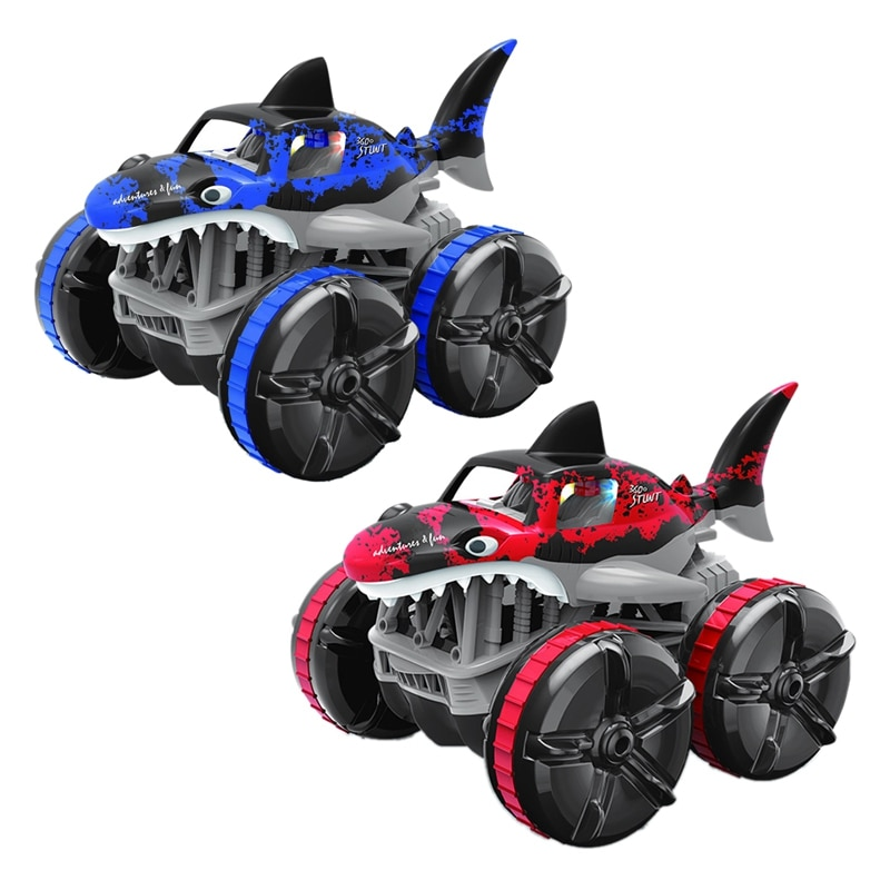 FBIL-Waterproof Remote Control Amphibious Shark Car 4WD Remote Control Car Non-Slip Stunt Toy Easy O