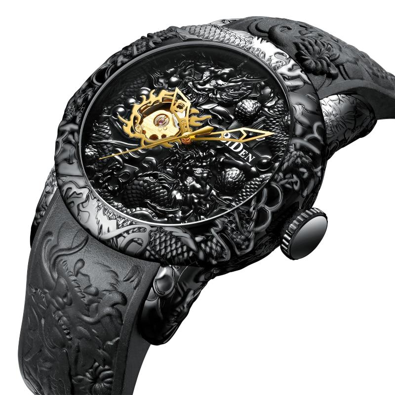 ساعة بايدن للرجال ، منحوت التنين الذهبي ، ميكانيكية ، أوتوماتيكية ، مقاومة للماء ، حزام سيليكون ، ساعة يد