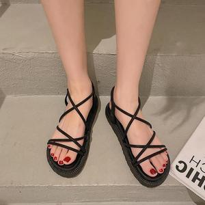 2021 New Summer Sandals Fashion Thick Soled Roman Women's Shoes  Cross-tied Ankle Strap Sandal For Women Flat Platform Sandalias