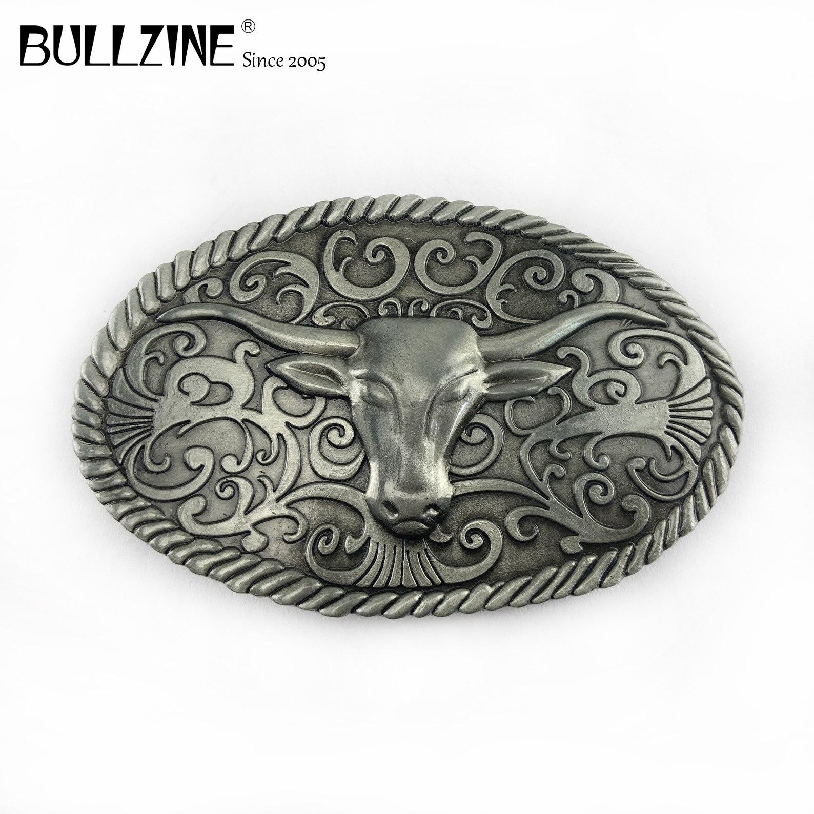 El Bullzine Western bull cinturón hebilla con acabado Peltre FP-03495 adecuado para encaje en el cinturón de 4cm de ancho