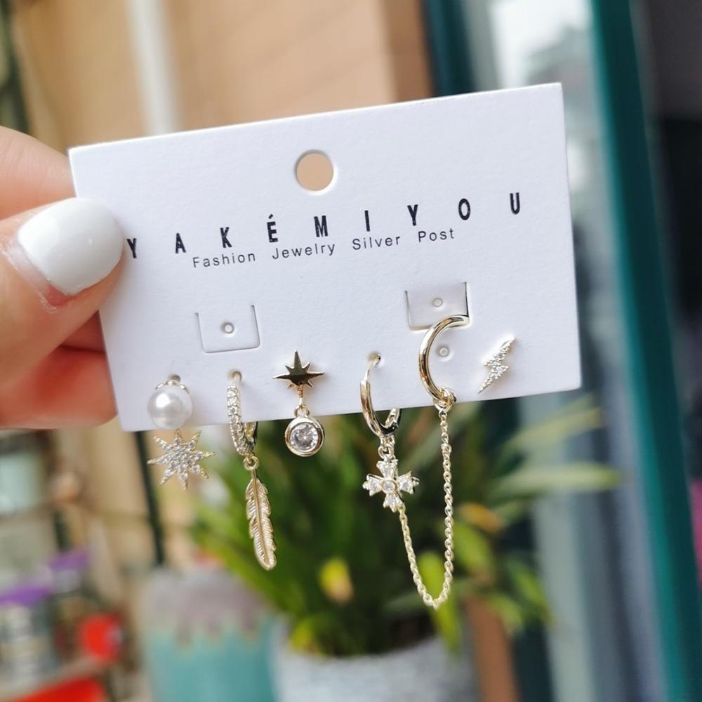 Модные изысканные серьги-кольца в виде листьев из жемчуга с молнией, корейские милые комплекты звезд, серьги-кольца для женщин, ювелирные из...