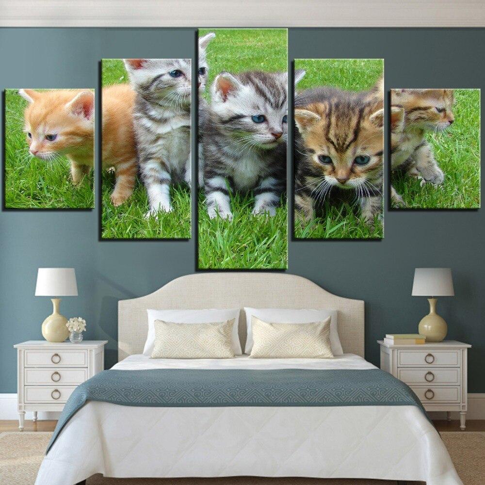 Cuadros de lienzo de gatitos bonitos de 5 piezas de pósteres de...