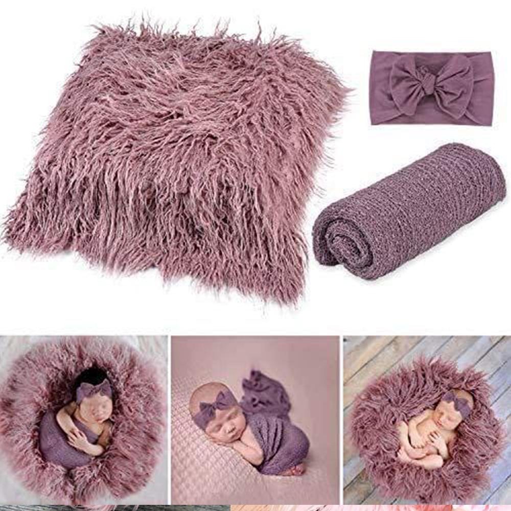 Newborn Photography Props Baby Photography Mat 3Pcs Including Carpet Blanket Headband Baby Souvenir For Photo Shoot Ins