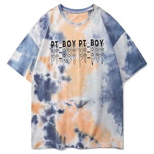 LACIBLE T-Shirts Casual Hip Hop Harajuku Men Summer Tie Dye Fashion Short Sleeve Tees Loose Cotton Streetwear Tshirts Tops Male