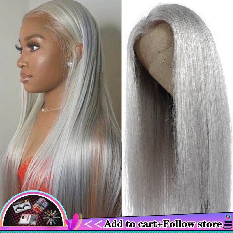 Brazilian 13x4 Lace Front Human Hair Wigs Straight Grey Lace Front Wig Pre Plucked Silver Gray Long