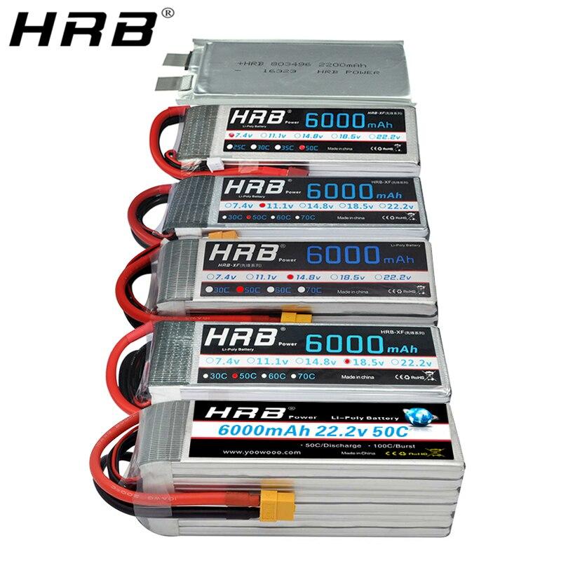 HRB 6000mah Lipo batería 50C 3S 2S 7,4 V 11,1 V 14,8 V Deans T XT60 4S 5S 6S 3,7 V 18,5 V 22,2 V 1S helicóptero RC aviones piezas del coche