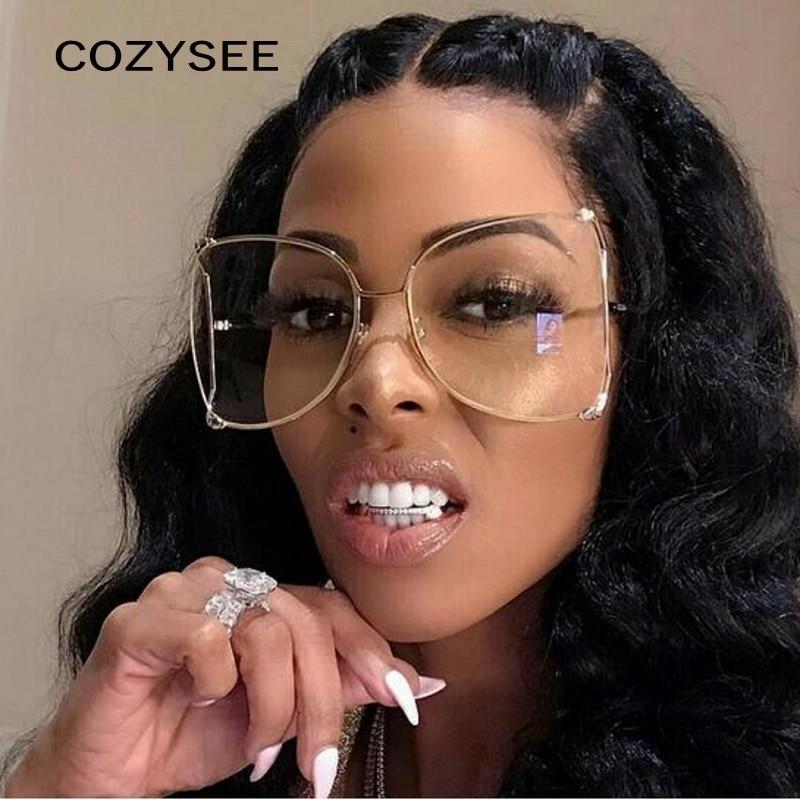 Gafas transparentes de gran tamaño doradas de moda para mujer gafas semiredondas de diseño de Metal gafas de montura hueca con marco negro perlado