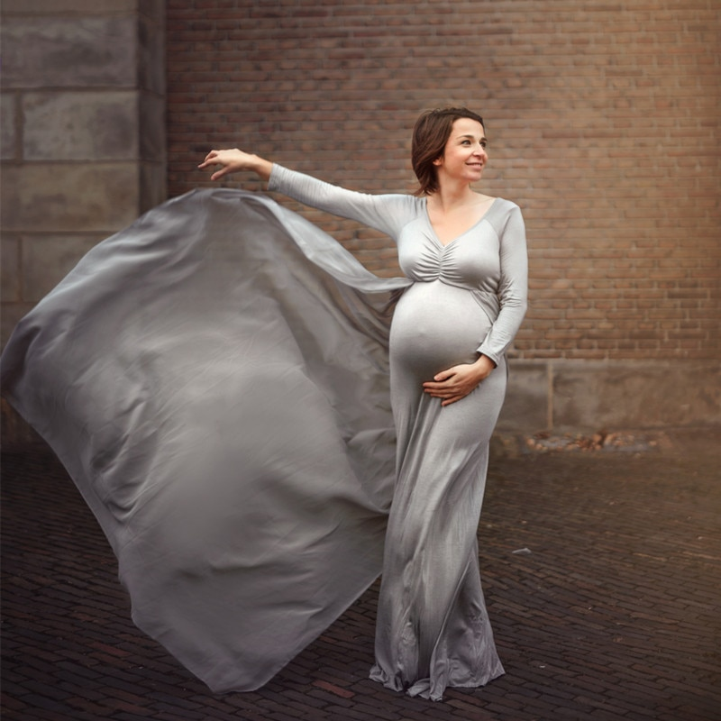 Baby Shower Jersey Dresses Maternity Photography Long Dress with Cloak Fitted Pregnancy Dresses Chiffon Cloak Pregnant Clothing enlarge
