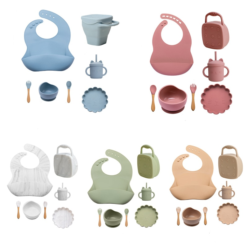 7PCS/1Set Baby Feeding Silicone Tableware NO BPA Kids Feeding Bowl Waterproof Spoon Snack Cup Non-slip Dishes For Baby Tableware enlarge