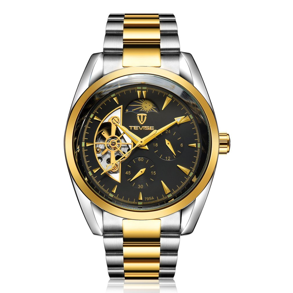 TEVISE 795a Business Style Men Hollow Out Mechanical Wrist Watch Needle Calendar Waterproof Stainles
