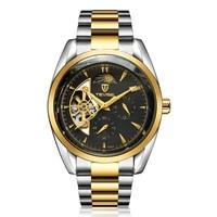 tevise 795a business style men hollow out mechanical wrist watch needle calendar waterproof stainless steel wristwatch