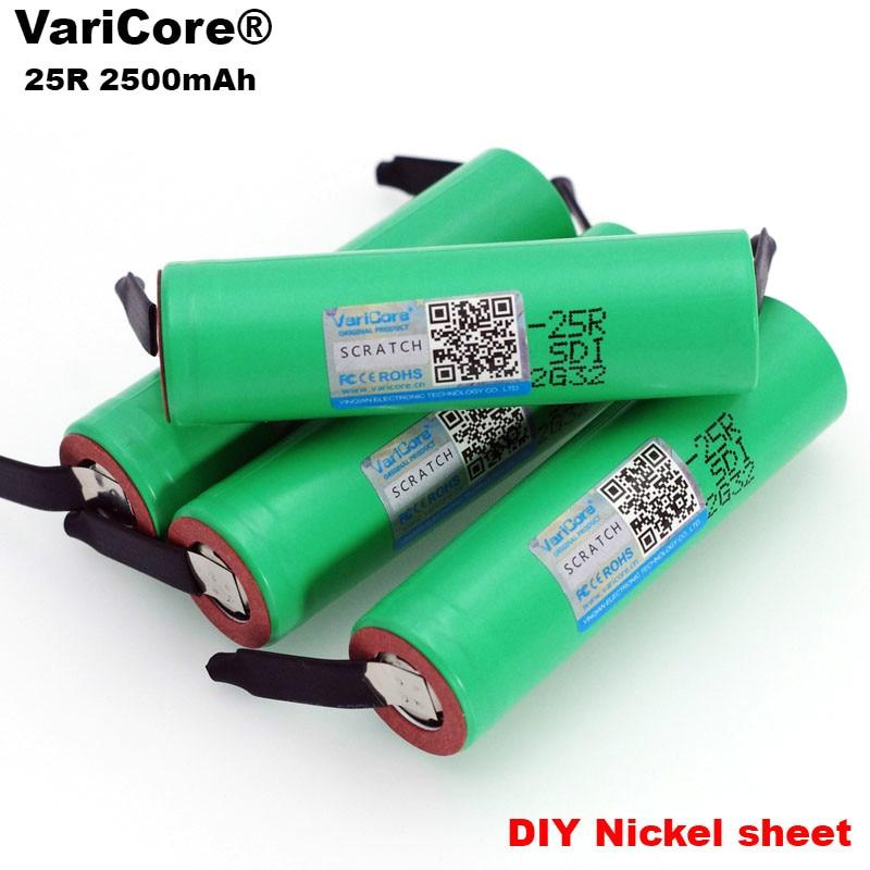 100% nueva marca 18650 2500mAh batería recargable 3,6 V INR18650 25R M 20A descarga + de níquel de diy