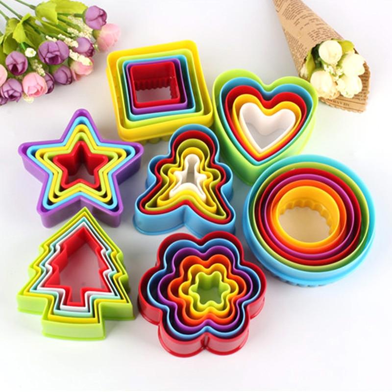 5 uds/6 uds/Set cortador de galletas de varias formas molde de pastelería molde de plástico para hornear molde de gelatina Fondant para hornear