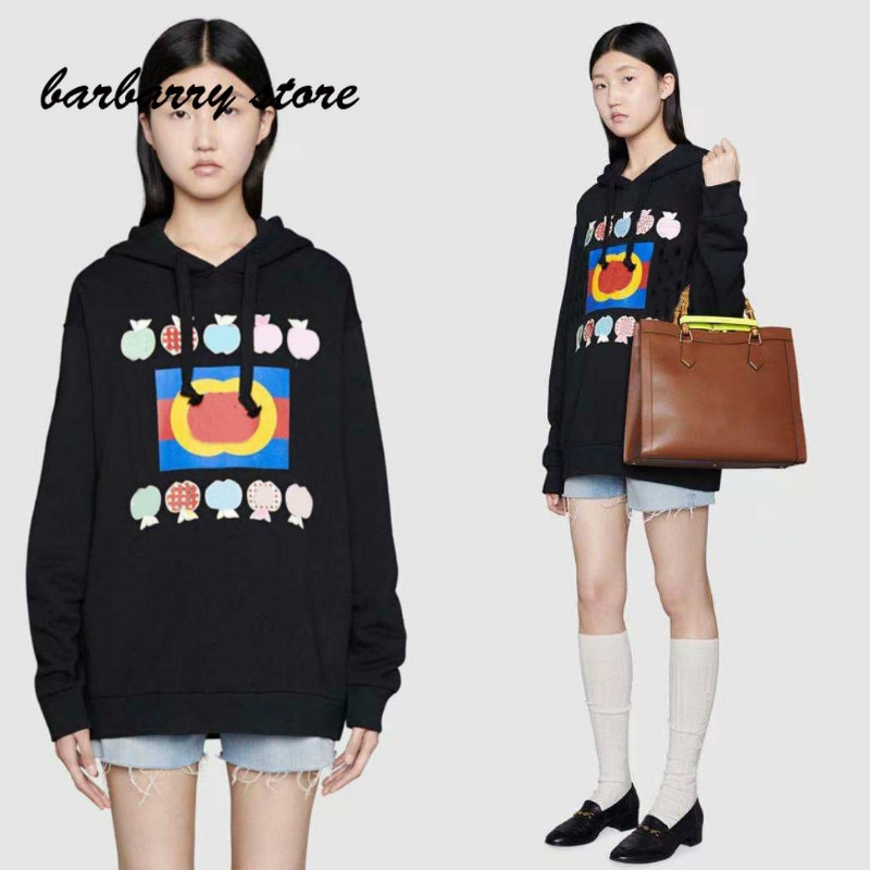 2021 deluxe design Apple letter printing fashion women's long sleeve Pullover temperament versatile hooded loose casual sweater