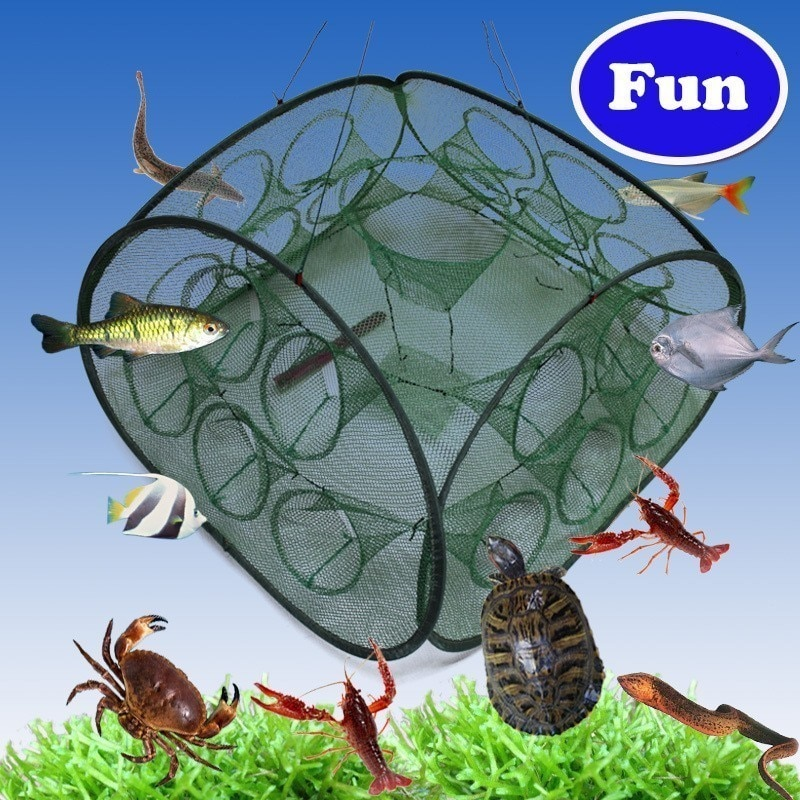 Автоматическая складная квадратная рыболовная сеть для посадки 5 9 21 отверстий клетка для краба ловушка для рыбы водные животные снаряжение...