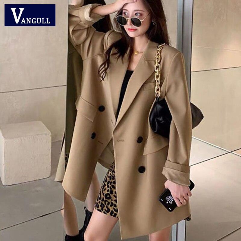 Vangull 2021 Autumn Blazer Women Single Breasted Oversized Suit Jacket Office Ladies Loose Plus Size