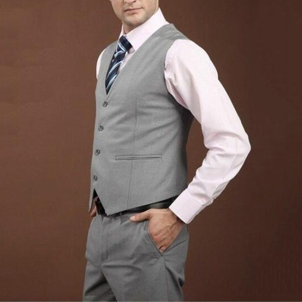Men Solid Color Sleeveless Back Straps Single-breasted Slim Business Waistcoat