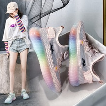 2021 New Flying Woven Coconut Shoes Rainbow Jelly Shoes Korean Version Of Breathable Student Casual