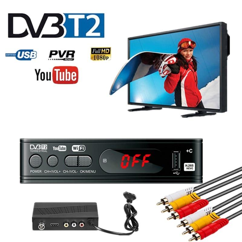 TV Tuner DVB T2 USB2.0 TV Box HDMI HD 1080P DVB-T2 Tuner Receiver Satellite Decoder Built-in Russian Manual For Monitor Adapter