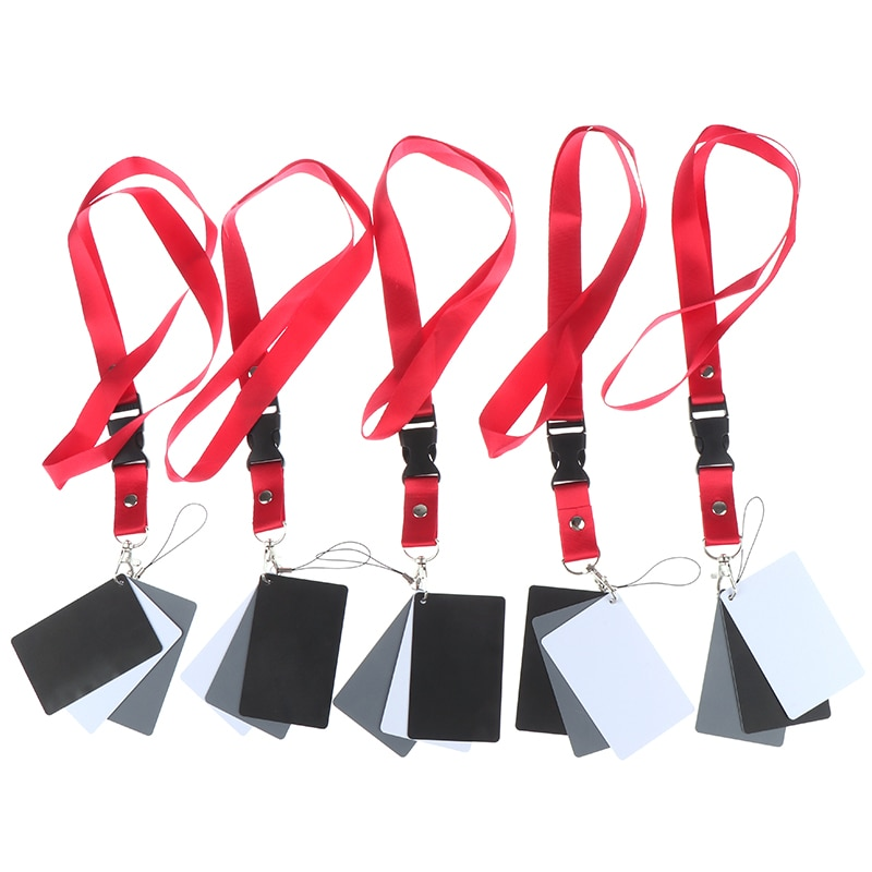 3 em 1 8.5x5.5cm branco preto cinza cor cartões de equilíbrio digital cinza cartão com alça de pescoço para dslr câmera equilíbrio branco