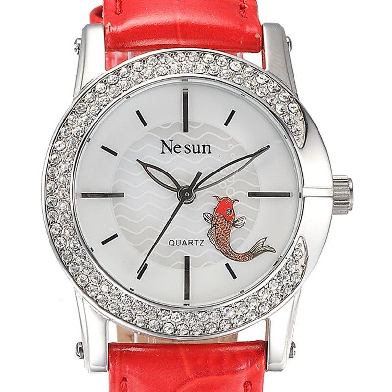 سويسرا-ساعة فاخرة من الجلد الماسي للنساء ، ساعة كوارتز يابانية ، مع الياقوت ، ماركة NESUN ، N6201