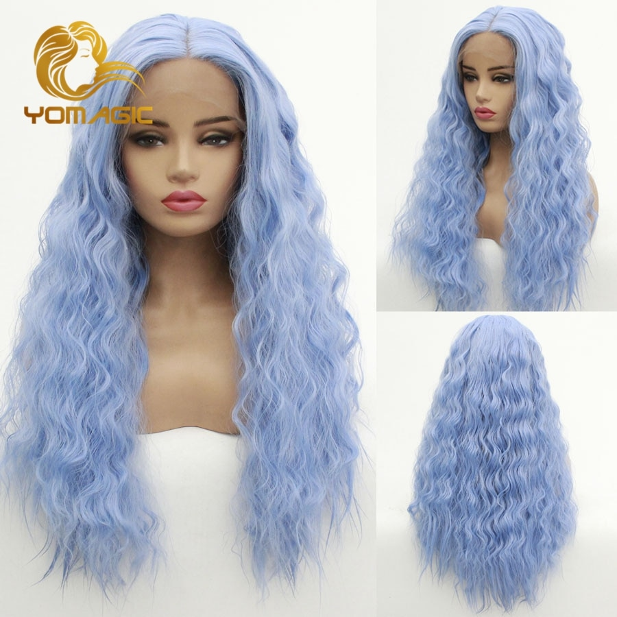 Yomagic Light Blue Color Lace Front Wig Deep Wave Synthetic Long Hair Glueless Lace Wigs Natural Hairline Heat Resistant Fiber