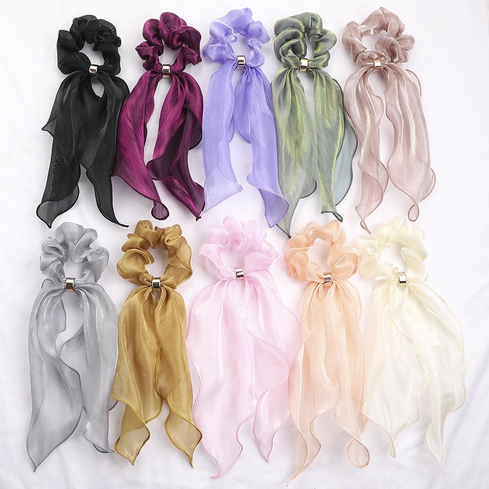 2020 Fashion Ladies Elegant Knotted Bow Long Ribbon Ponytail Scarf Hair Tie Scrunchies Women Girls Silk Elastic Hair Bands