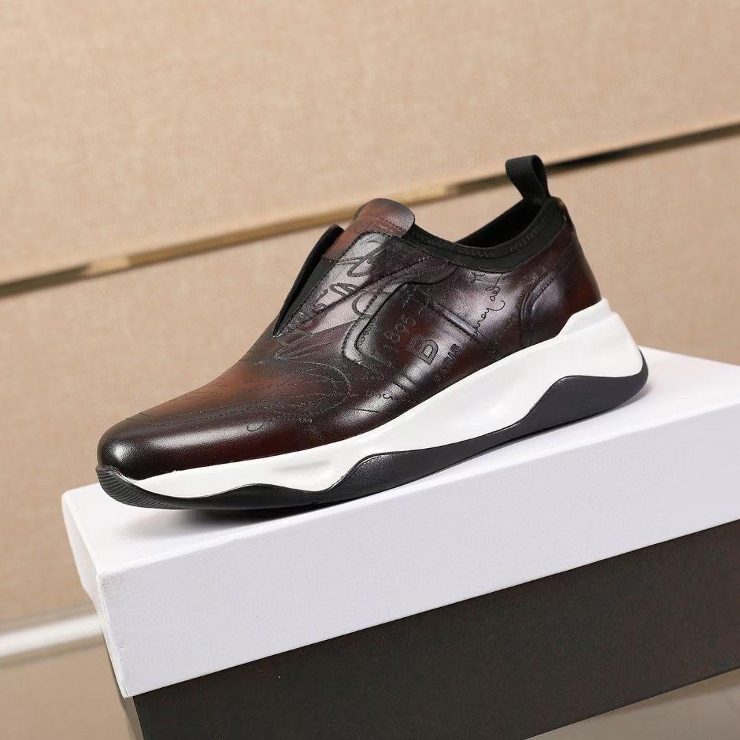 B Новые однотонные повседневные кожаные туфли с круглым носком, беговые кроссовки, износостойкие спортивные туфли на резиновой подошве, легкая обувь, мужская обувь