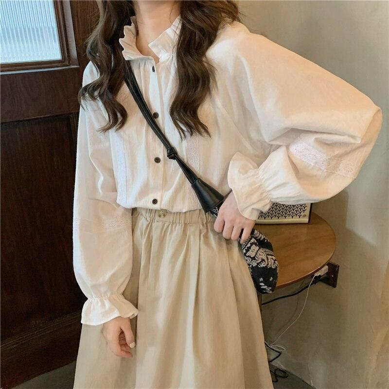 Autumn/winter French Retro Fashion Suit Women New Lantern Sleeve Sense of Design Shirt Casual High W