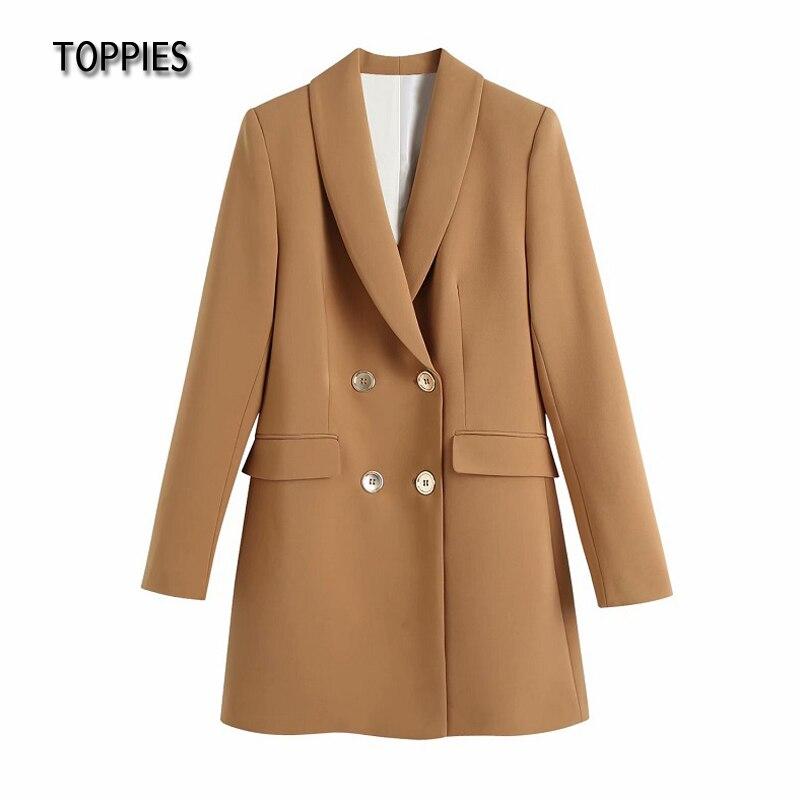 Toppies 2021 Woman Long Blazer Dress Double Breasted Suit Jacket Office Ladies Slim White Blazer Female Coat