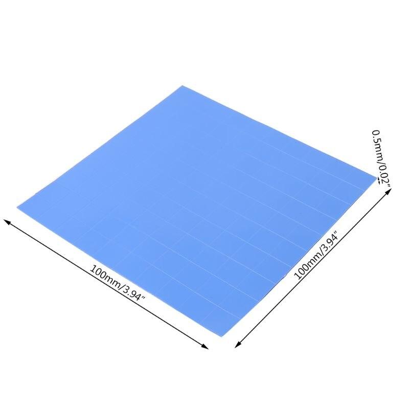 100mm x 100mm x 0.5mm 1 folha/100 pces almofada térmica gpu cpu dissipador de calor refrigerando almofada de silicone condutora r9ja