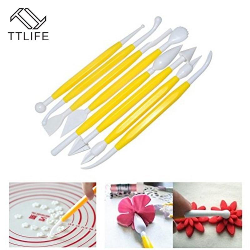 8 unids/lote doble-Fondant pastel pluma decoración artesanía de azúcar decoración cepillo arcilla del molde de la punta de la herramienta pastel tallar herramientas de modelado