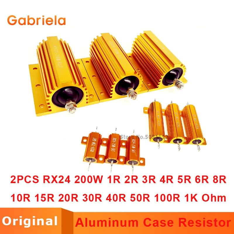 2Pcs RX24 200W Watt 1R 2R 3R 4R 5R 6R 8R 10R 15R 20R 30R 40R 50R 100R 1K Ohm LED load resistor Aluminum Case Wirewound Resistor